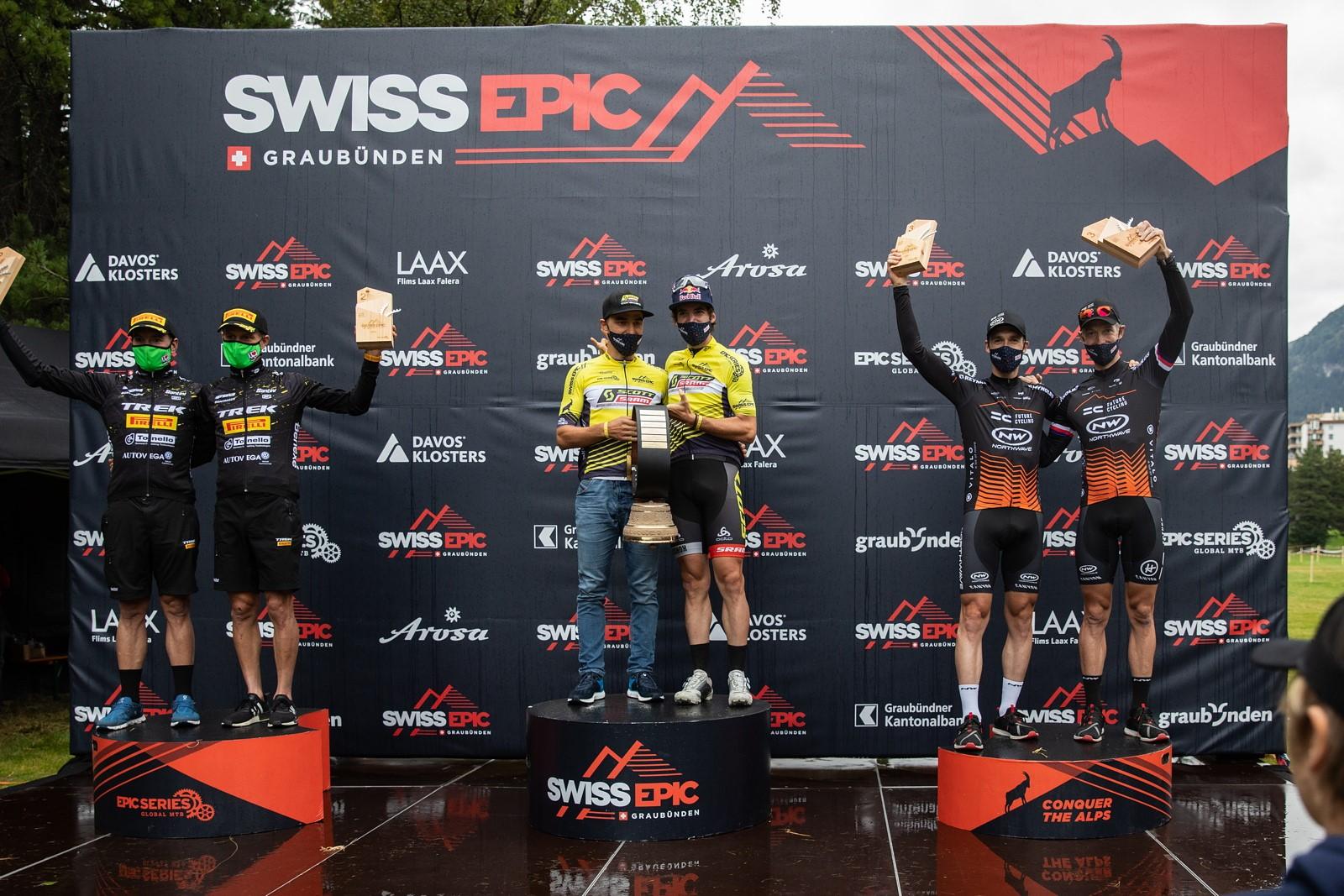 Stupně vítězů Swiss Epic 2020. Foto: Michal Červený