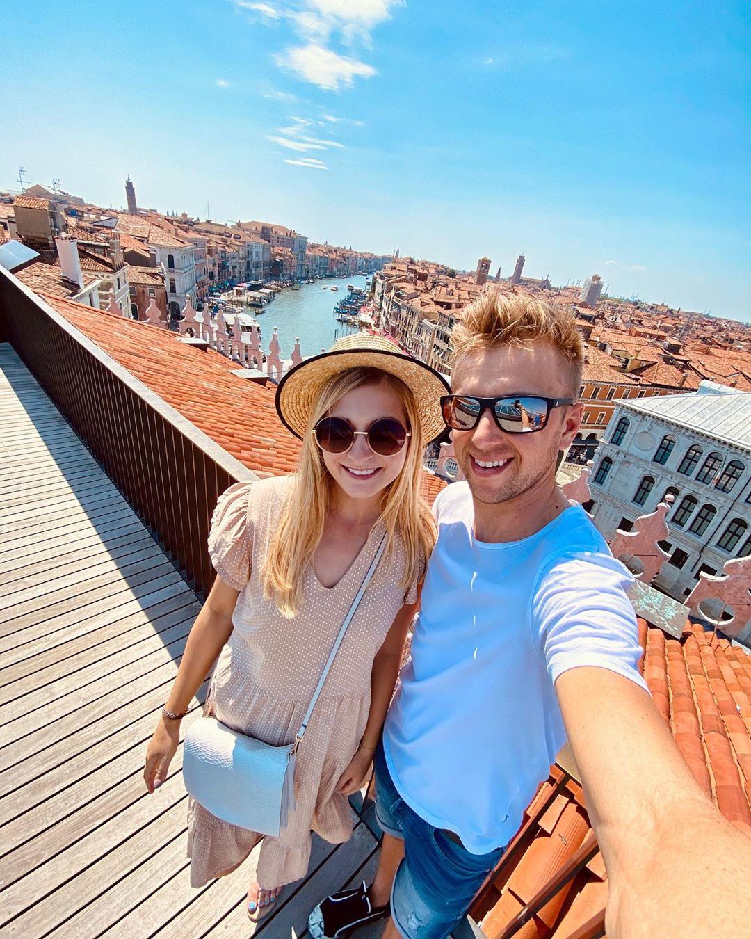 Ondřej Cink si soustředění u jezera Lago di Garda zpestřil výletem do Benátek se snoubenkou Pavlínou. Foto: archiv Ondřej Cinka