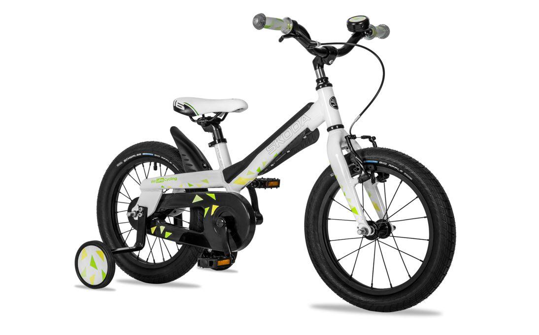 Cyklistické kolo Škoda s koly o průměru šestnáct centimetrů jsou ideální pro začátky.
