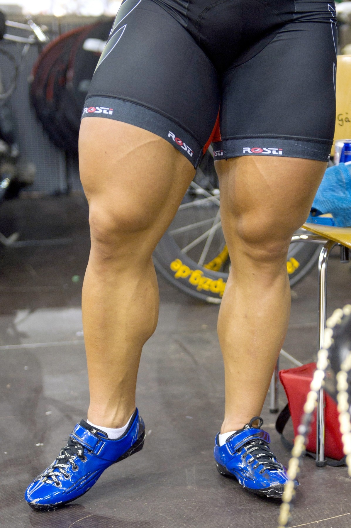 German cyclist Robert Foerstermann displays his muscle toned legs during the Sixday Cycling race at the Velodrom in Berlin, Germany on January
