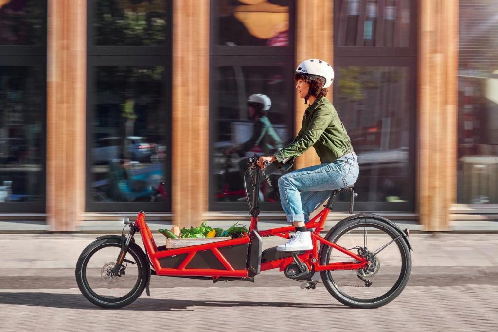 Cyclist on a cargo e-bike