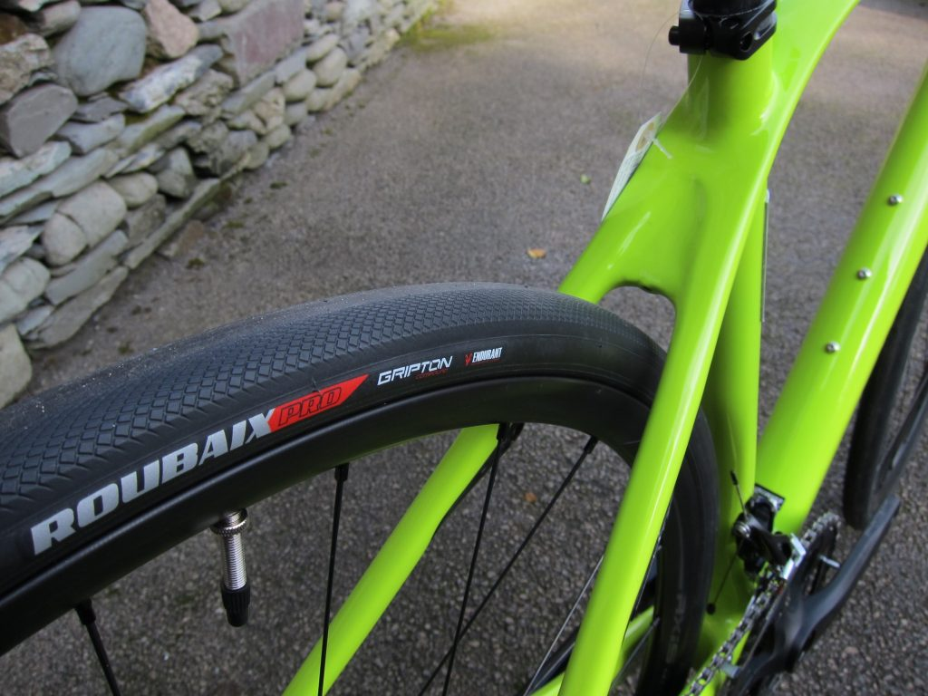 The geometry is more relaxed than that of a race bike. The head tube is often taller and the head angle is slicker for more relaxed steering (less twitchy than a racing bike, less responsive on technical off-road sections than a 'crosser').