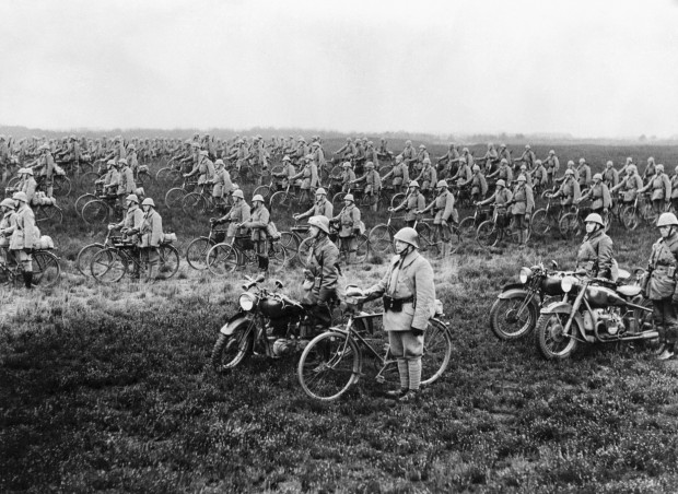 Dutch Bicycle Regiment At Attention