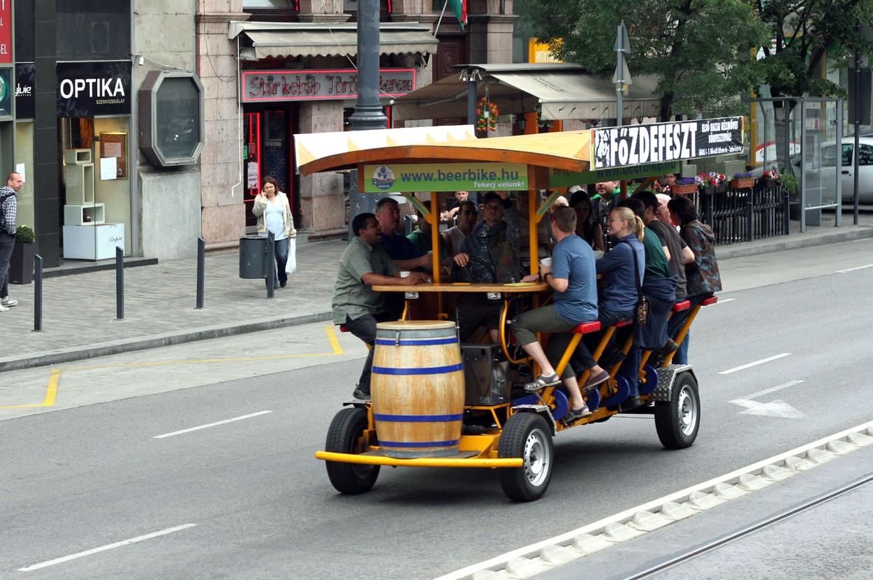 A party bike, pedibus, cycle pub, beer bike, or bierbike is a multi-passenger human powered vehicle