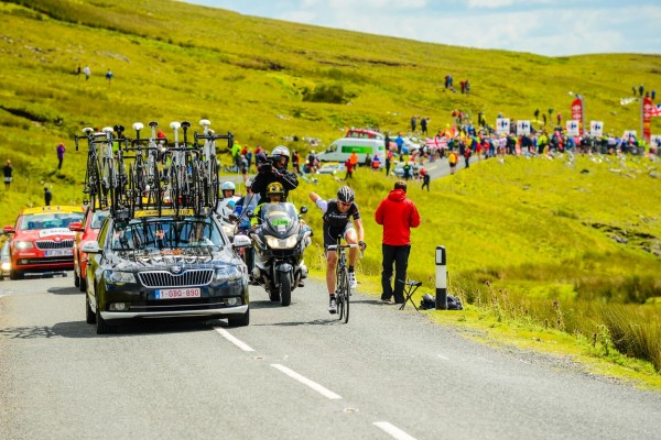 of Trek Factory Racing leads over Buttertubs Pass on Stage 1 of the 2014 Tour de France i