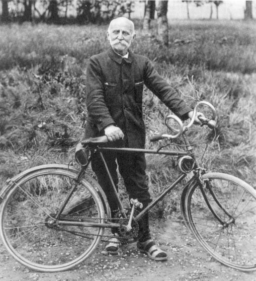 French silk merchant Paul De Vivie, born in 1853, was a pioneer of long-distance cycle touring.  He first coined the phrase 'cyclo-tourisme' and spoke vibrantly of his rides through his alias Velocio in his magazine Le Cycliste.