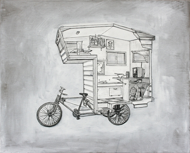Among other projects, he came up with an idea to build a full-sized camper bike. The functioning sculptural piece, built in 2011, was made from scrap metal, painted and inspired by his recent series of paintings and drawings.