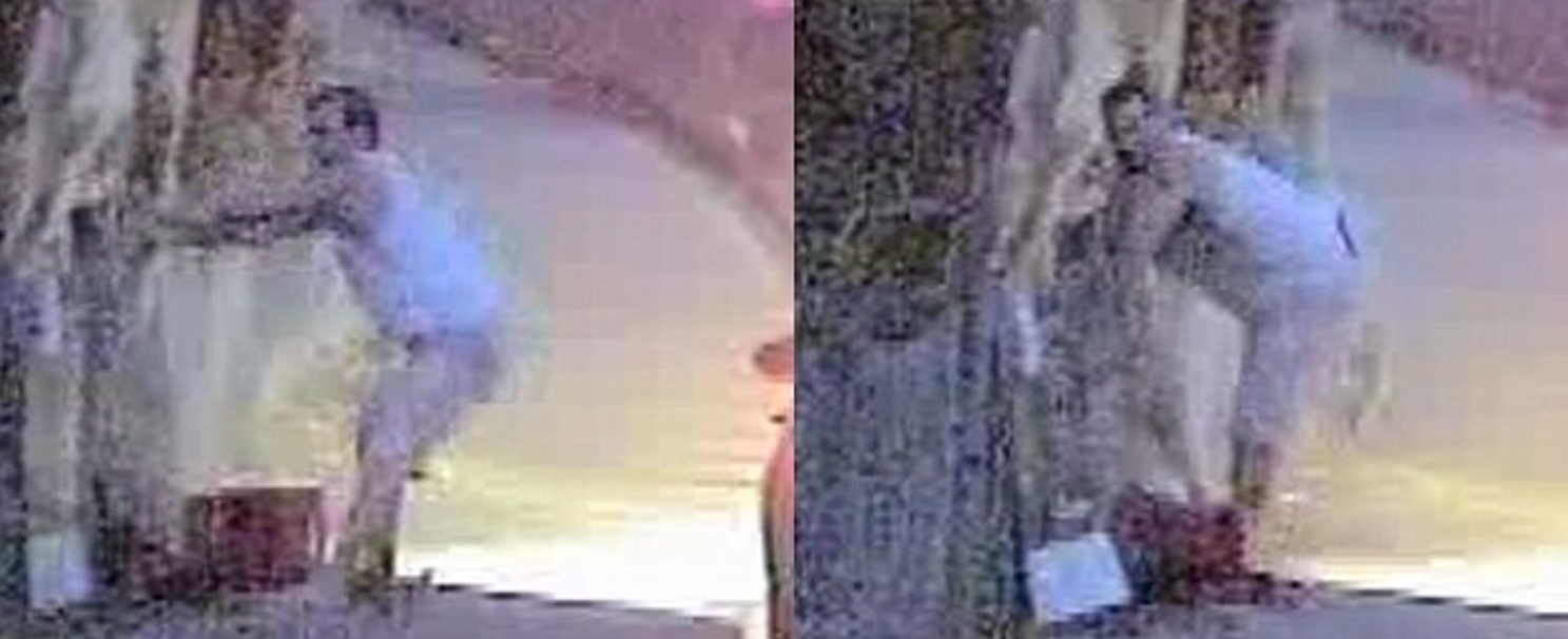 The man in the CCTV footage appears to be in his 30s, is dressed in a white singlet and light-coloured shorts and arrives on the scene in a 2015 VW Polo. The police believe him to be local as he was unshaven and wasn't wearing any shoes.
