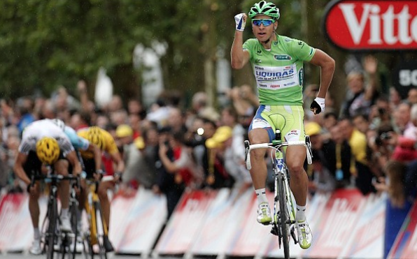 "Here is Sagan celebrating with a ""running man"" at the third stage of the Tour de France in 2012."