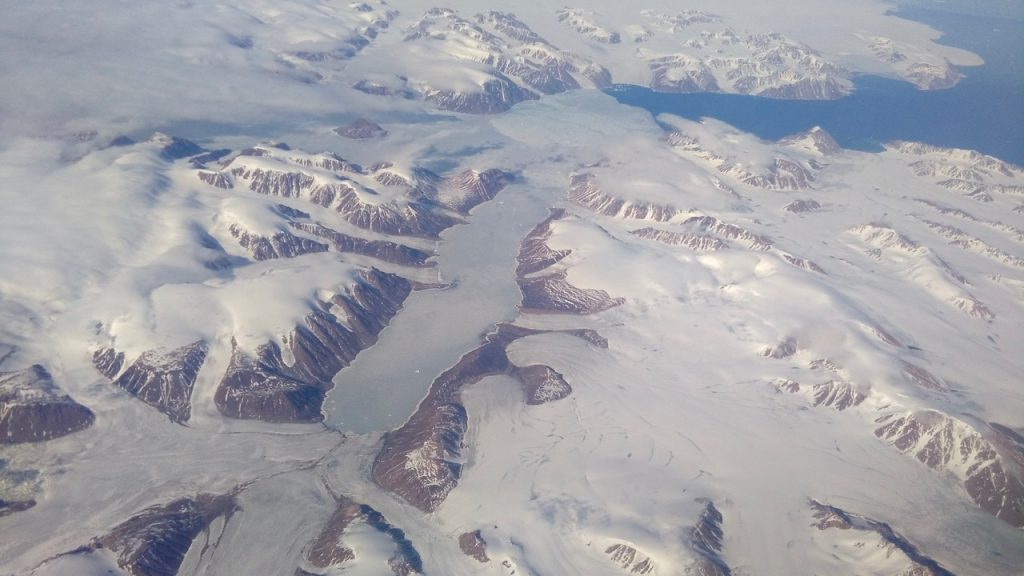 View from the plane. Glaciers north of Canada.