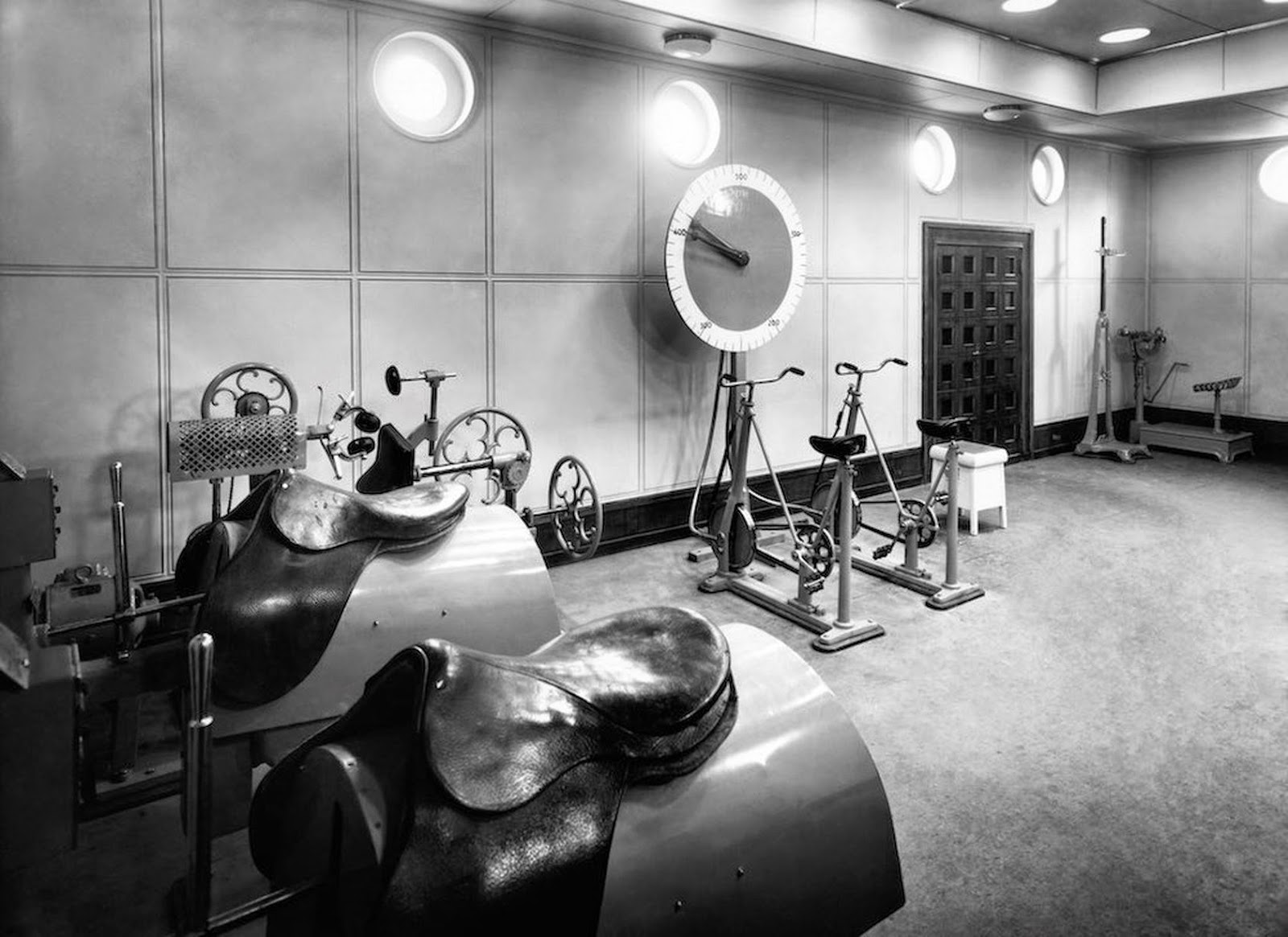 The first class gym on the Liner Vulcania, 1930.