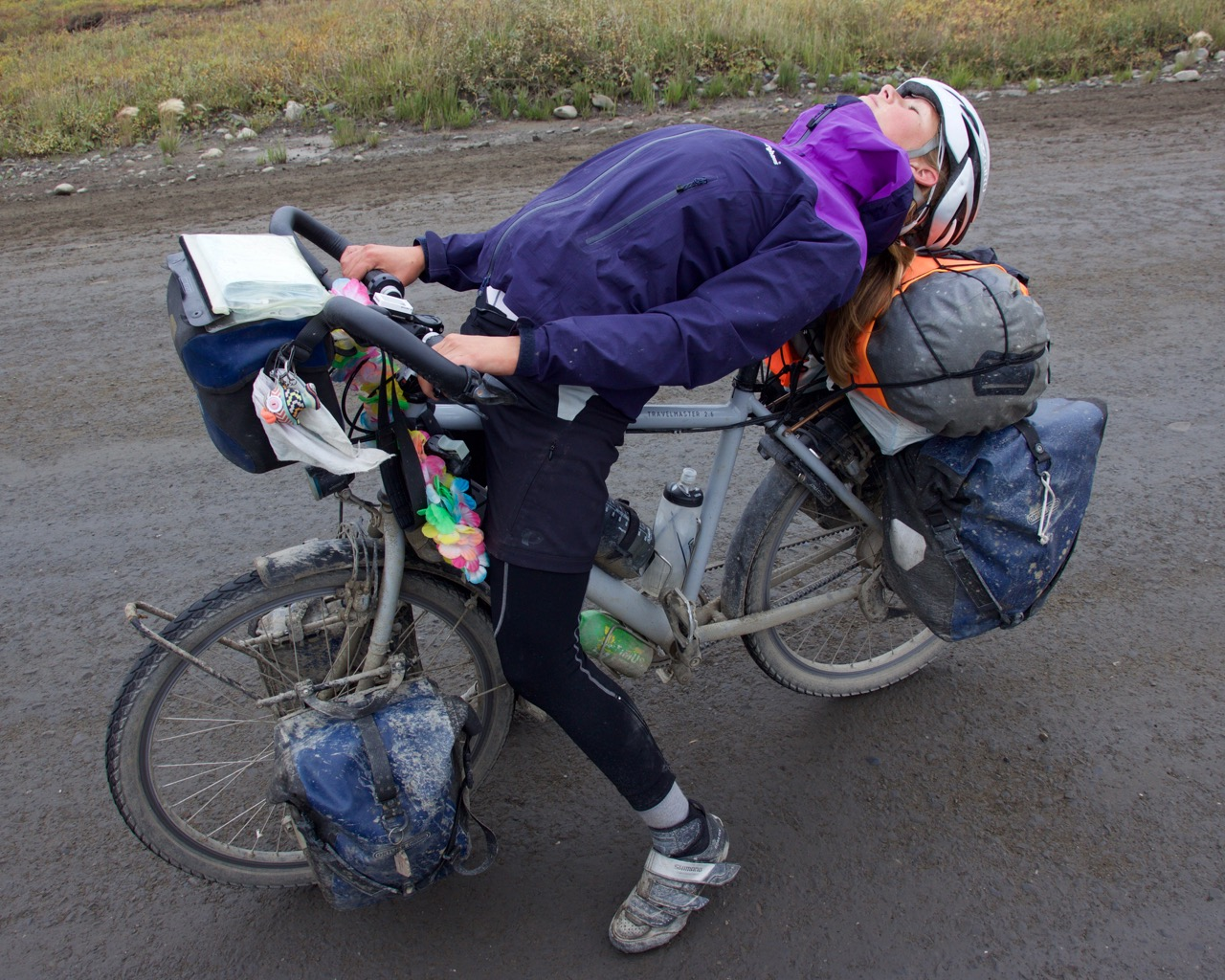 My back tends to get really sore on hard bikeways. Stretch! *