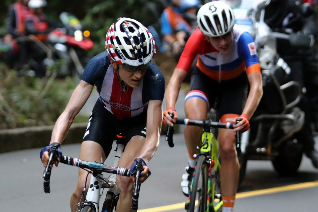 USA's Mara Abbott (L) leads Netherlands' Annemiek Van Vleuten during the Women's road cycling race at the Rio 2016 Olympic Games.