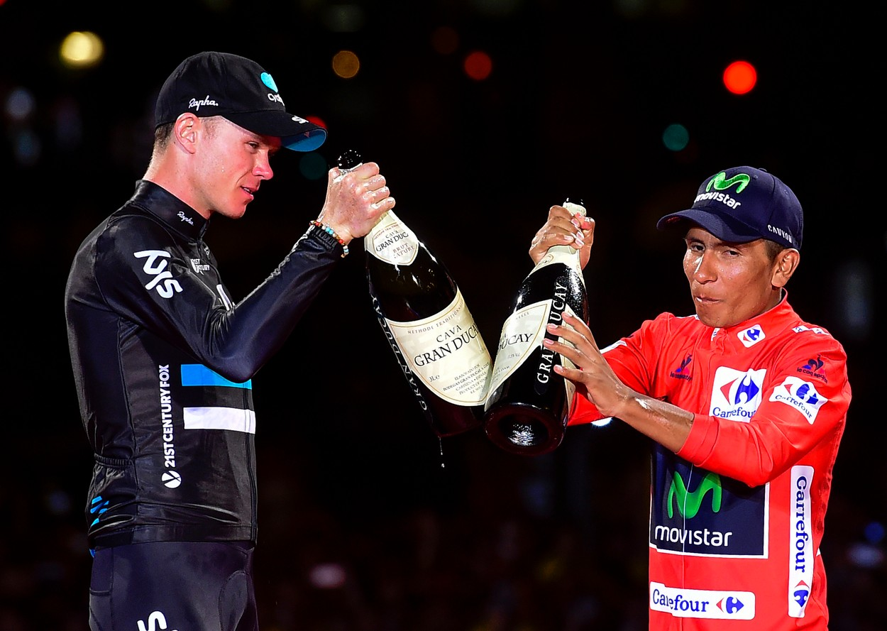 "Winner of La Vuelta 2016, Movistar's Colombian cyclist Nairo Quintana (R) and second placed Sky's British cyclist Christopher Froome toast on the podium of the last stage of the 71st edition of ""La Vuelta"" Tour of Spain, a 104.8km route Las Rozas to Madrid, on September 11, 2016., Image: 299535188, License: Rights-managed, Restrictions: , Model Release: no, Credit line: Profimedia, AFP"