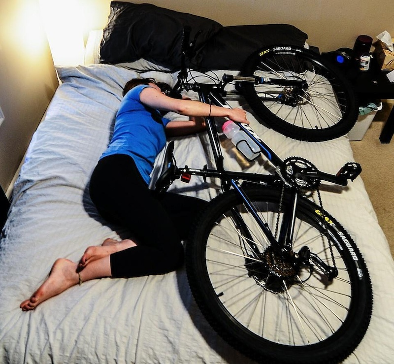 Sleeping with a bicycle