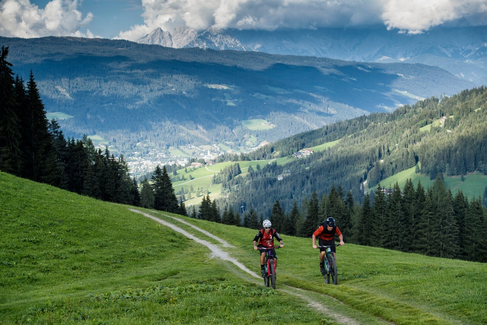 Cyclists in mountains
