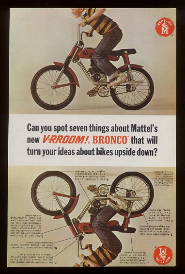 They look and sound just like a motorcycle... with storage compartment, motorcycle handlebars and Mattel's fantastic V-RROOM! motor that works with a real key.