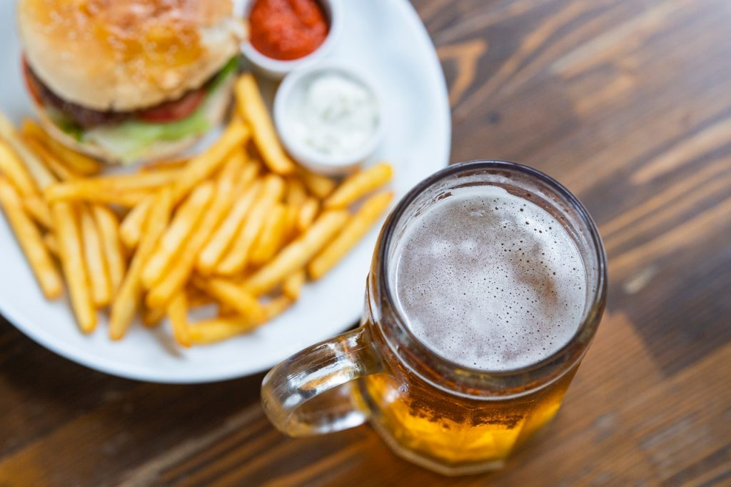 Burger with beer