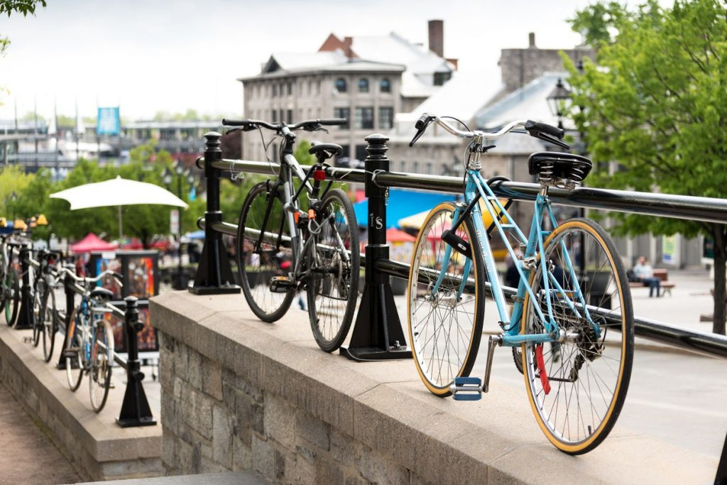 Locked bicycles in urban setting